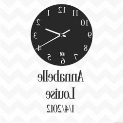 Clock face personalised custom date & names vinyl wall stick
