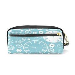 ALAZA Clock Pencil Case Zipper PU Leather Cosmetic Makeup Ba