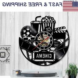 Clock Wall 3D Black Popcorn Theater Movie Cinema Snack Bar C