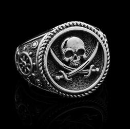 """Clocks And Colours """"JOLLY ROGER"""" .925 Sterling Silver SIZE 1"""