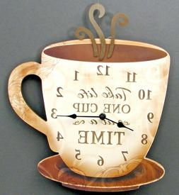 Coffee Cup Clocks Wood Kitchen Decor Battery Operated Wall H