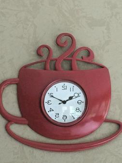 Coffee Cup Mug & Saucer Red Wall Clock Kitchen Home Decor