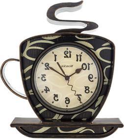 Coffee Shop Time 3D Wall Clock Mount Decor Design Art Watch