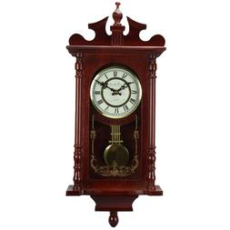 """Bedford Collection Redwood Oak Finish 25"""" Wall Clock with Pe"""