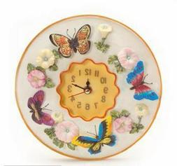 Colorful Butterflies Round Wall Clock, Polystone Resin, 8 In