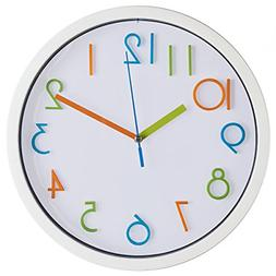 Colorful Kids Wall Clock 10 Inch Silent Non Ticking & Quartz