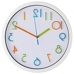 Bernhard Products Colorful Kids Wall Clock 10 Inch Silent No