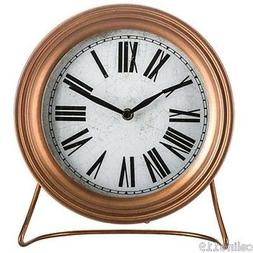 Copper Metal Clock with Stand Timepiece Metal Roman Numerals