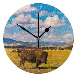 Amehome Cow Grazing On The Grass Round Acrylic Wall Clock No