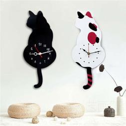 Creative Acrylic Cartoon Wagging Tail Cat Wall Clock Mute Mo