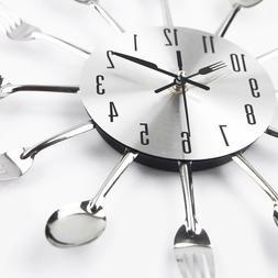 Cutlery Metal Kitchen Wall Clock Spoon Fork Creative Quartz