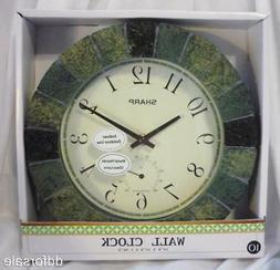 """Decorative 10"""" Indoor/Outdoor Wall Clock with Temperature Ga"""