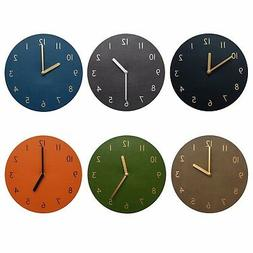 "Decorative Wall Clock 9"" Silent Non-Ticking Quartz PU Leathe"