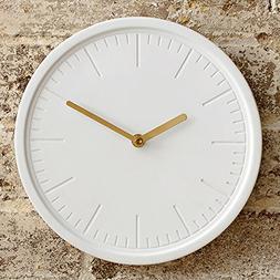 Decorative Wall Clock By White Ceramic Face Metallic Gold Ha
