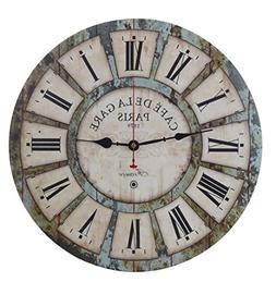 Old Oak Decorative Wall Clock Vintage Large 16-Inch Silent N