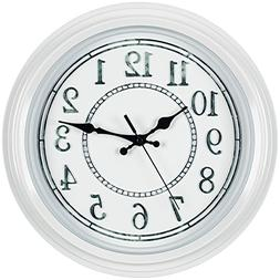 Bernhard Products White Wall Clock 12.5 Inch Decorative Rust