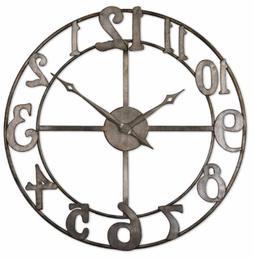 Uttermost 'Delevan' Round Metal Wall Clock - Black