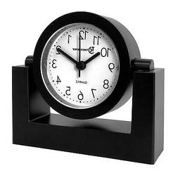 Desktop Swivel Clock For Desk | Shelf | Tabletop, Black Fram