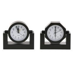 Desktop Swivel Clock for Desk Shelf Tabletop Black Frame Hom