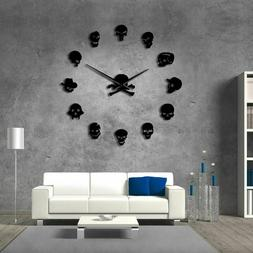Different Skull Head DIY Horror Wall Art Giant Wall Clock Bi