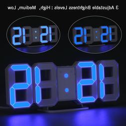 Digital 3D Large LED Wall Clock Alarm Clock Snooze 12/24 Hou