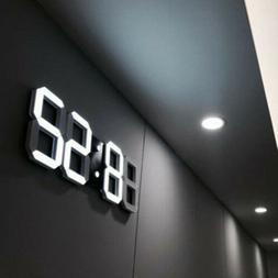 Digital 3D LED Display Desk Wall Clock Alarm Snooze Watch 12