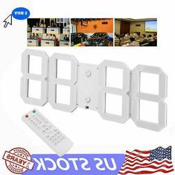 Digital 3D LED Wall Clock Alarm Snooze Watch 12/24 Hour Disp
