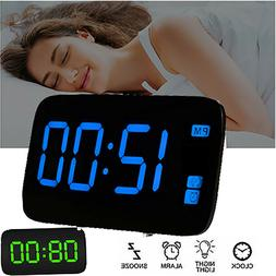 Digital Alarm Clock Large LED Display USB/Battery Operated S