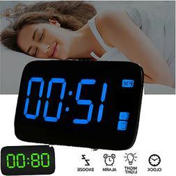 Digital Alarm Clock Large LED Display USB/Battery Operated S