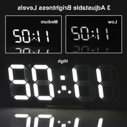 Digital 3D LED Wall/Desk Clock Snooze Alarm Big Digits Auto