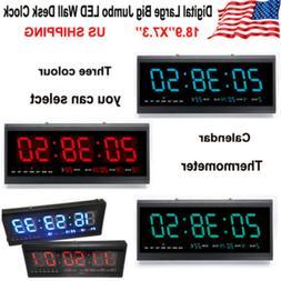 Digital Large Jumbo LED Wall Desk Clock W/ Calendar Temperat