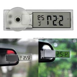 Digital LCD Glass Adsorption Small Clock Dashboard Auto Car