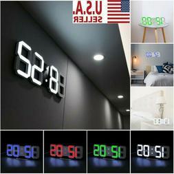 Digital LED Big Wall Desk Alarm Clock Snooze 12/24 Hours Aut