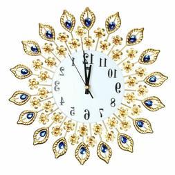 Digital Needle Wall Clocks Peacock Metal Crystal For Living