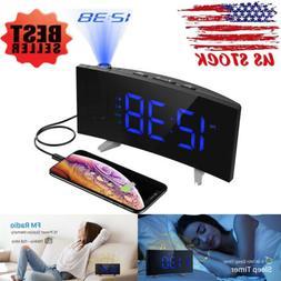 "Digital Projection Dual Alarm Clock FM Radio 5"" Dimmable Kid"
