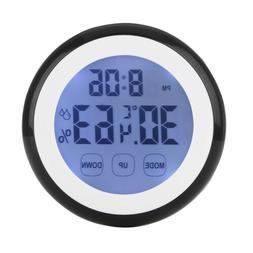 Digital Temperature Humidity Time Function Wall Clocks LCD B