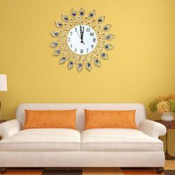 Digital Wall Clock Peacock Crystal Diamond Clock for Living