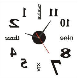 DIY 3D Wall Clock Watch Large Modern Simple Home Sticker Dec