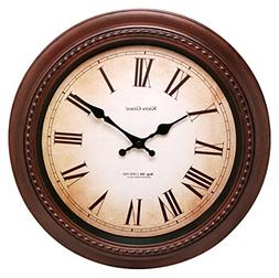 Kiera Grace Doone Round Wall Clock, 16-Inch, 2-Inch Deep, Br