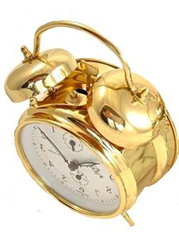 Sternreiter Double Bell Mechanical Wind Alarm Clock - Gold
