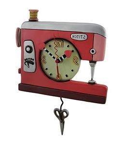 Allen Designs Double Stitch Sewing Machine Pendulum Clock by