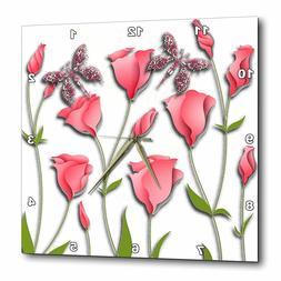 3dRose dpp_167256_1 Pink Flowers Butterflies Wall Clock, 10