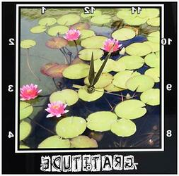 3dRose dpp_29477_1 Zen Gratitude Lily Pad-Lotus Flowers Spir