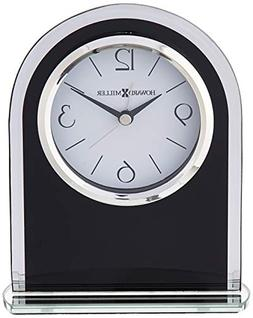 Ebony Luster Tabletop Alarm Clock in Black Glass