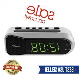 Sharp Electric Digital Dual Alarm Clock Battery Backup LED L