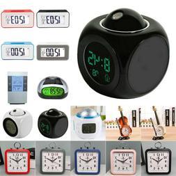 Electronic LED Digital Analog Alarm Clock Calendar Battery O