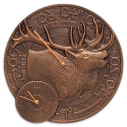 Whitehall Products Elk Indoor/Outdoor Wall Clock and Thermom