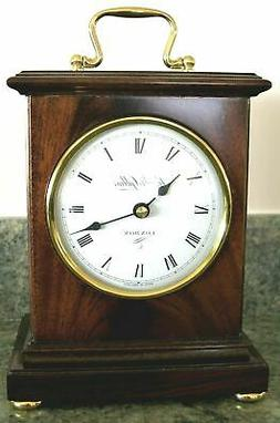 english mantel clock nib quartz solid mahogany
