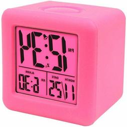 Equity Soft Cube LCD Travel Alarm Clock with Silicone Rubber