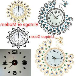 Exquisite Vintage Style Peacock Antique Wall Clock for Home